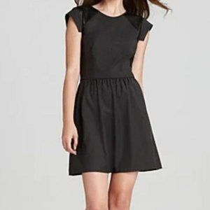 Rebecca Taylor Leather Mesh Perforated Twill Dress
